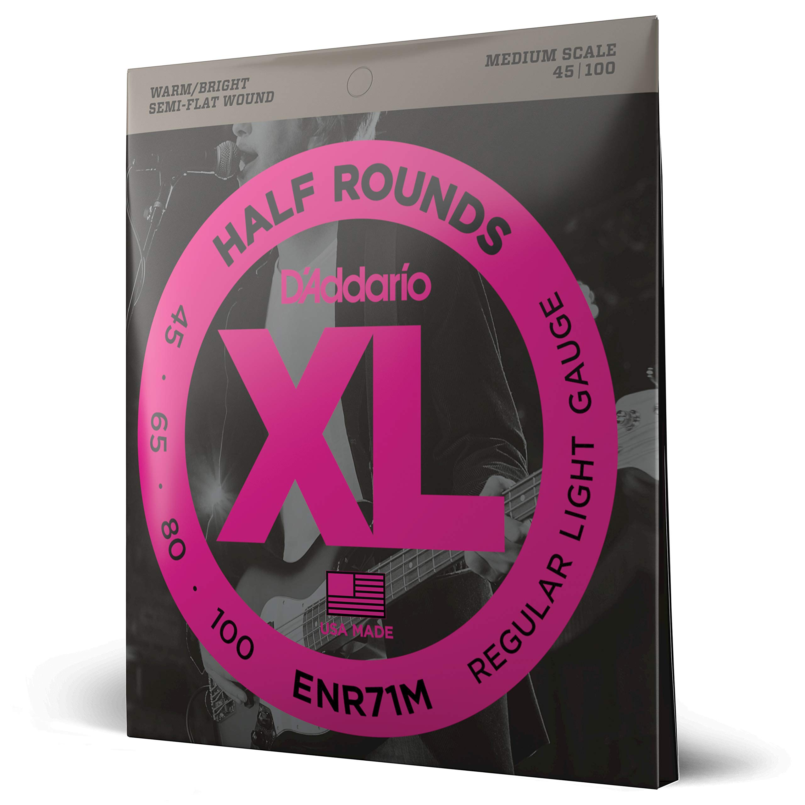 D'Addario ENR71M Half Round Bass Guitar Strings, Regular Light, 45-100, Medium Scale