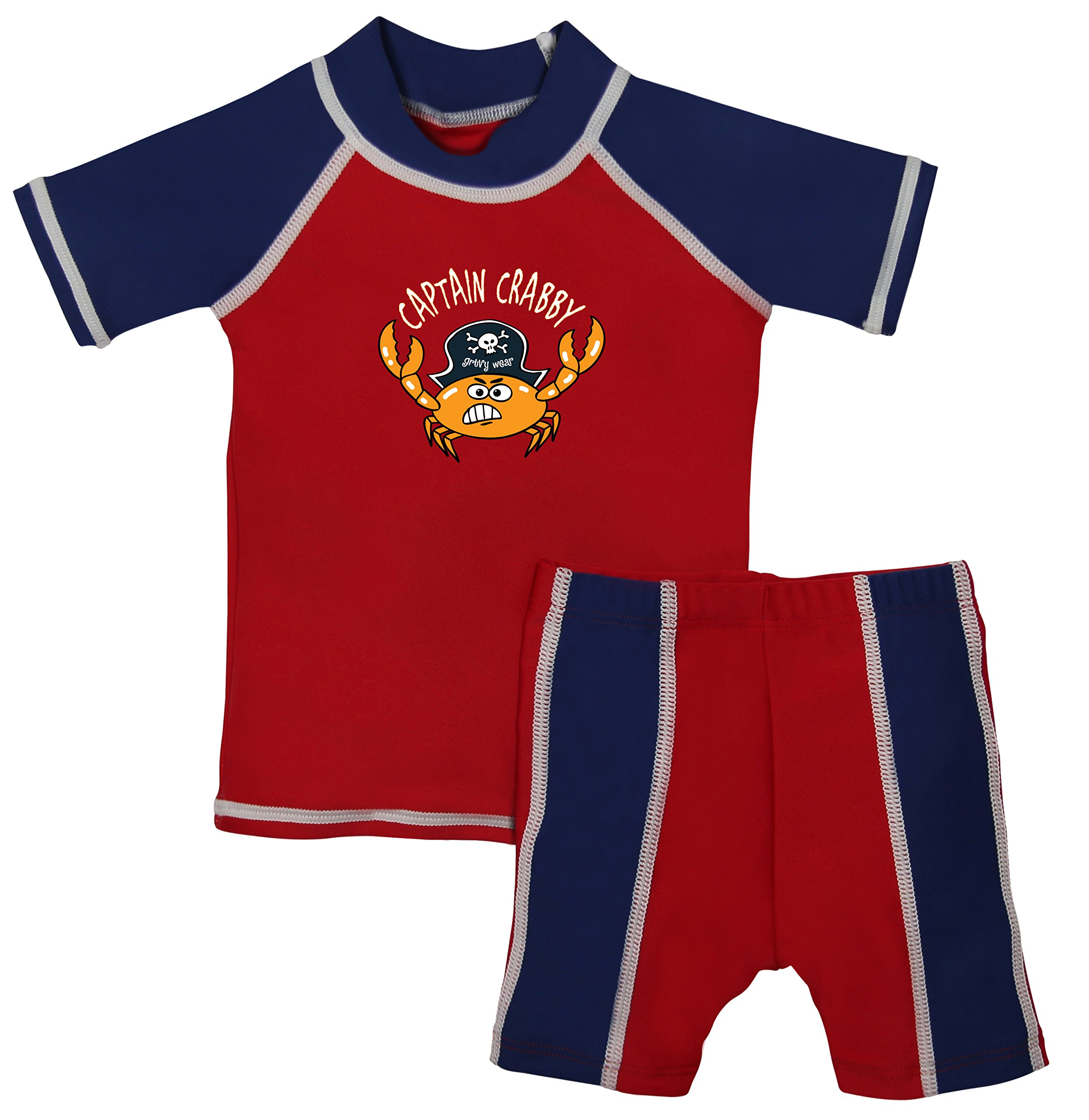 grUVywear Baby Boy Rash Guard Set - UV Shirt and Shorts - Sun Protective Swimwear Baby Boy Rash Guard Swimwear Set 6-12m, Captain Crabby by grUVywear