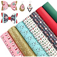 AUXIN 7 Pcs A4 Size Christmas Theme Printed Faux Leather Sheets for Bows Earrings DIY Making, Synthetic Vinyl Chunky…