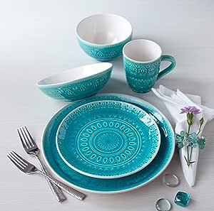 Euro Ceramica Fez Collection 20 Piece Ceramic Reactive Crackleglaze Dinnerware Set Service For 4 Teardrop Mandala Design Turquoise Dinnerware Sets Amazon Com