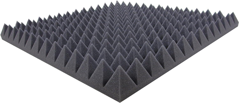 Pista ac/ústica Espuma piramidal de espuma ac/ústica AUTOADHESIVO aprox.100 cm x 49 cm x 5 cm Esteras de aislamiento ac/ústico para un aislamiento ac/ústico efectivo