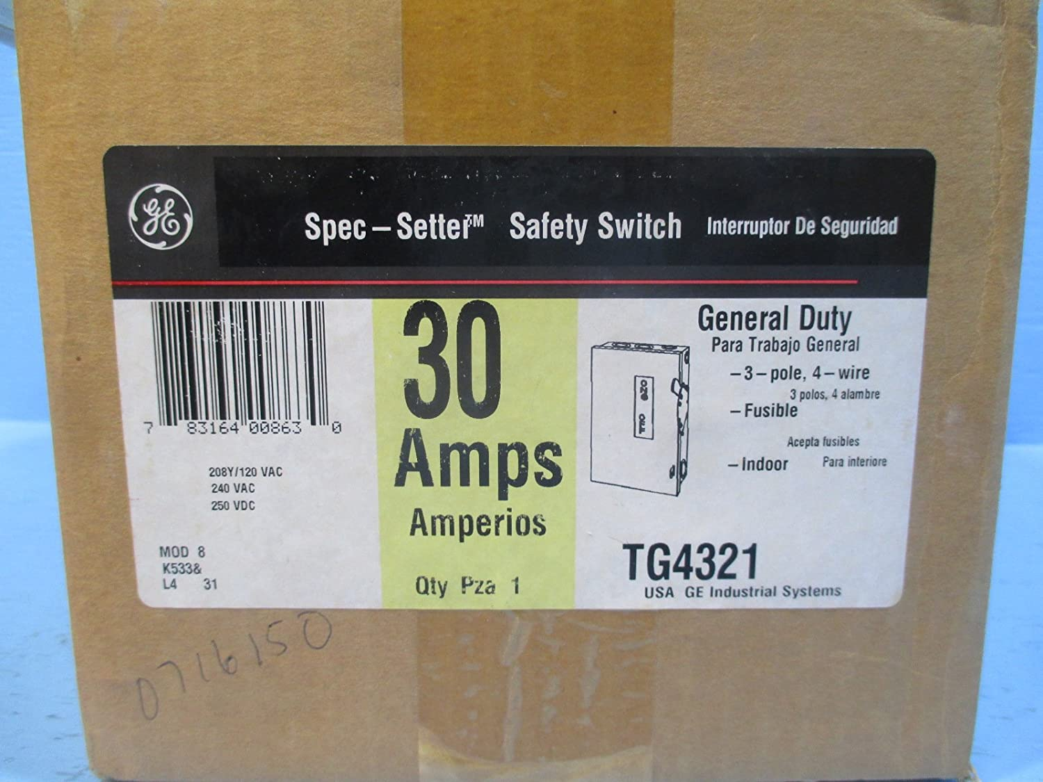 GE TG4321 4 Wire 3 Pole Fusible Type TG General-Duty Safety Switch 240 Volt 30 Amp NEMA 1 Spec-Setter�