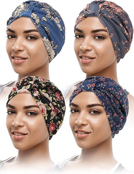 4 Piezas Gorro Turbante de Mujeres Gorro Estampado Floral Pañuelo de Cabeza Pre-atado Gorra de Dormir de Algodón: Amazon.es: Ropa y accesorios