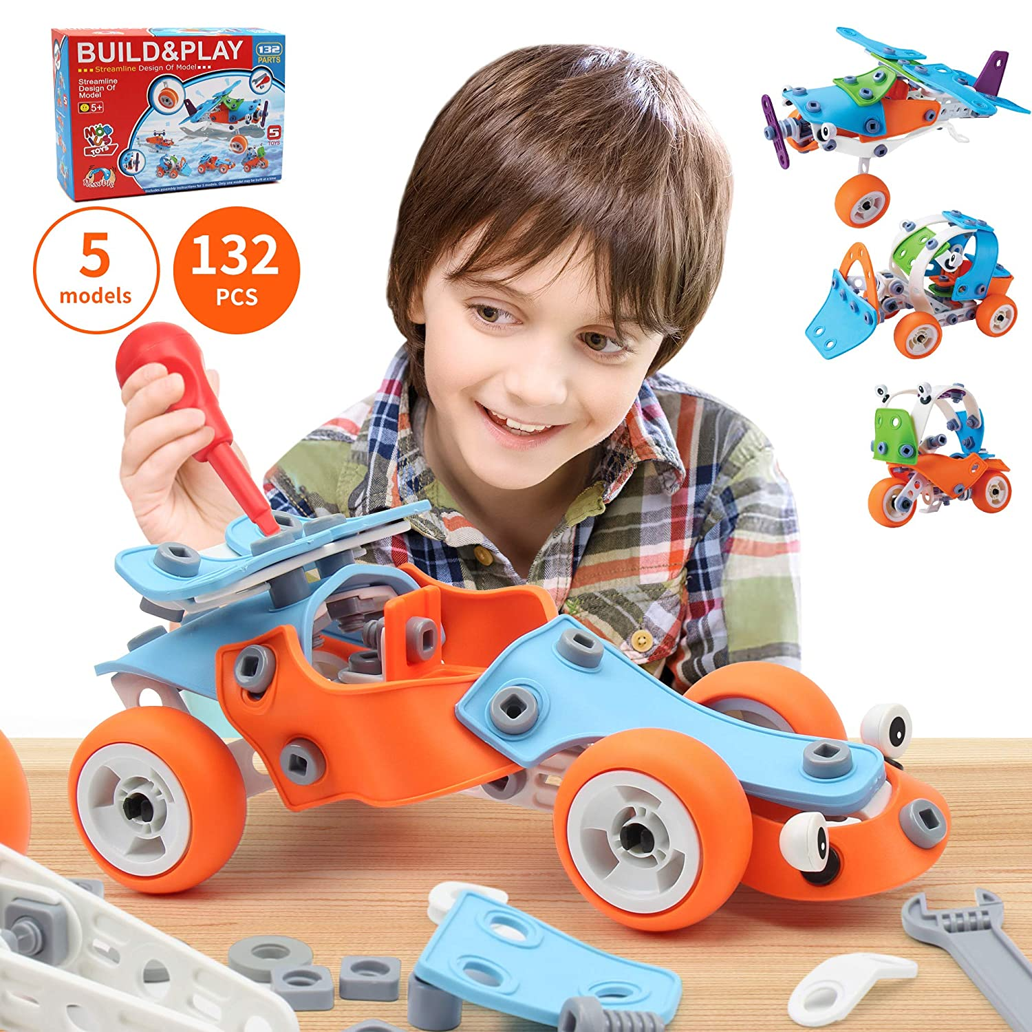 132 PCS STEM Learning Toys - Educational Engineering and DIY STEM Construction Kit - Best Building Set for 6 7 8 9 10+ Year Olds Boys & Girls That Love to Build - Creative Stem Gift Play Set for Kids