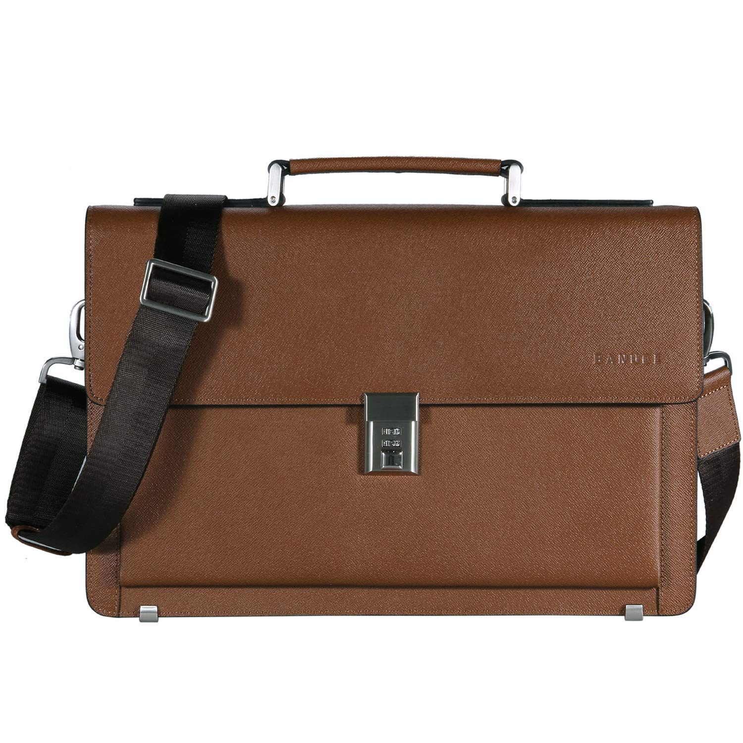 Banuce Vintage Real Leather Locking Briefcase Attache Case Men Business Legal Excutive Tote Messenger Laptop Bag