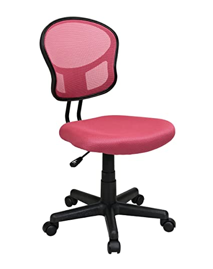 Genial Office Star Mesh Back Armless Task Chair With Padded Fabric Seat, Pink