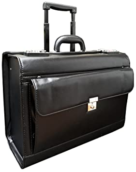 Deluxe imitación de cuero bolso piloto sobre ruedas maletín bolso de cabina pilot case maletines de piloto: Amazon.es: Equipaje