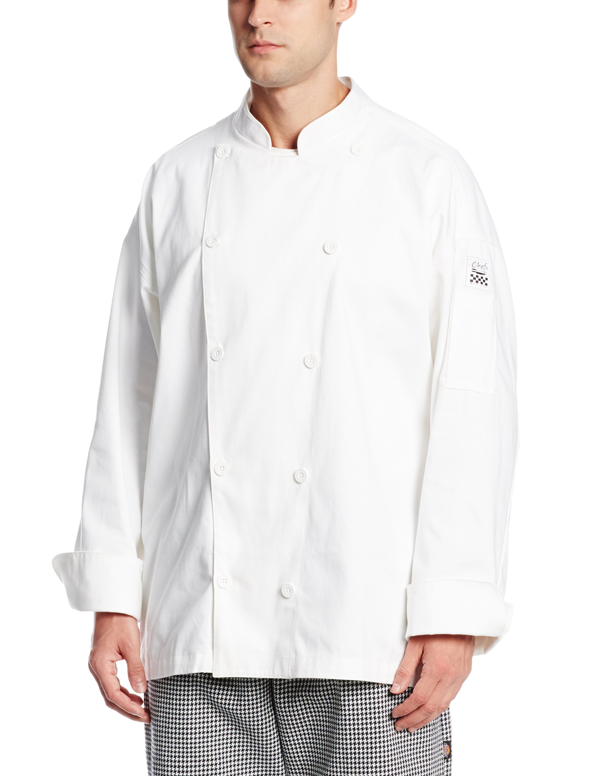 San Jamar J029 Cotton Traditional Long Sleeve Chef Jacket with Chef Logo Button, X-Small, White by San Jamar