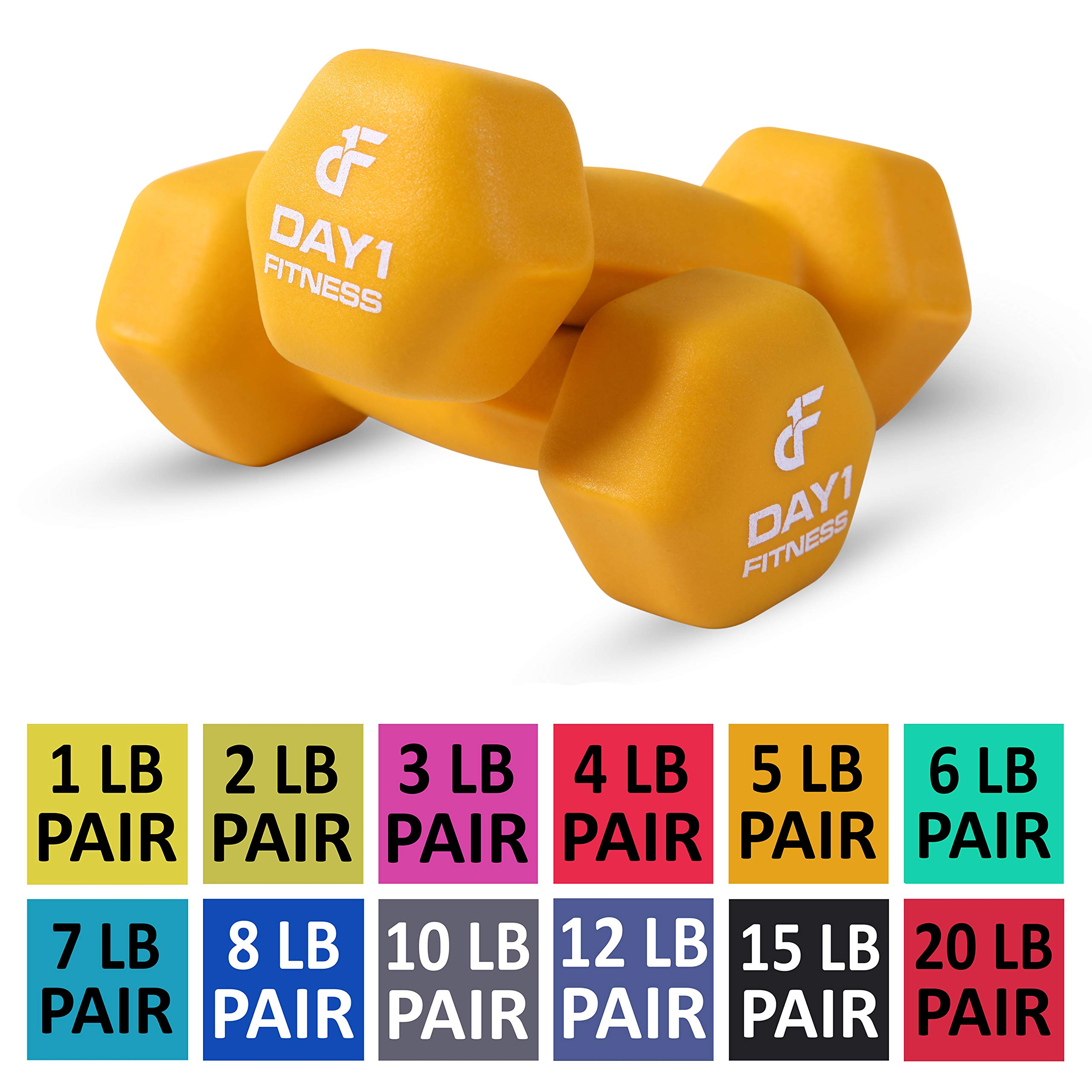 Day 1 Fitness Neoprene Dumbbell Pairs 5 Pounds - Non-Slip, Hexagon Shape, Color Coded, Easy to Read Hand Weights for Muscle Toning, Strength Building, Weight Loss