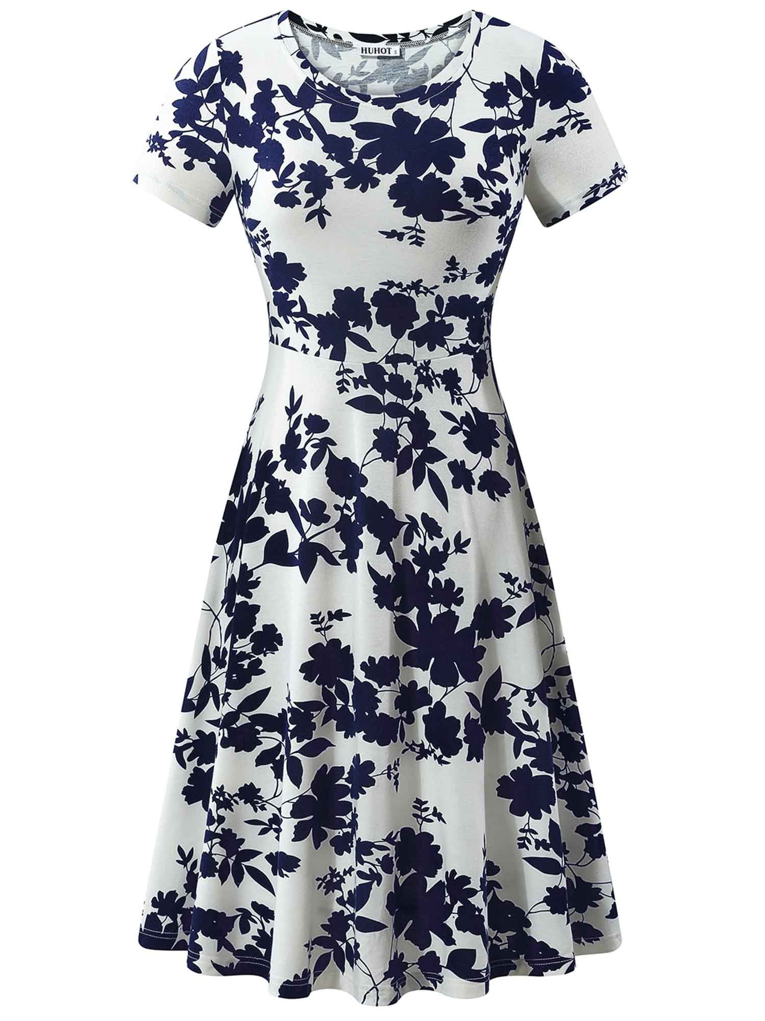 HUHOT Swing Dresses, Women Knee Length Summer Flared Flower Midi Dress for Ladies(Flower-5,Large)