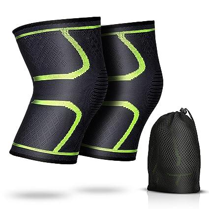 2 x Rodillera de Compresión para Mujer y Hombre, AGPTEK Rodilleras Deportivas para Crossfit,