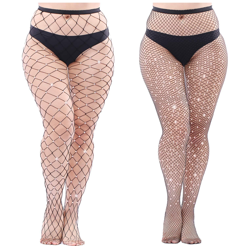 Aneco 2 Pairs Plus Size Sparkle Diamond Fishnets Sexy Black Tights