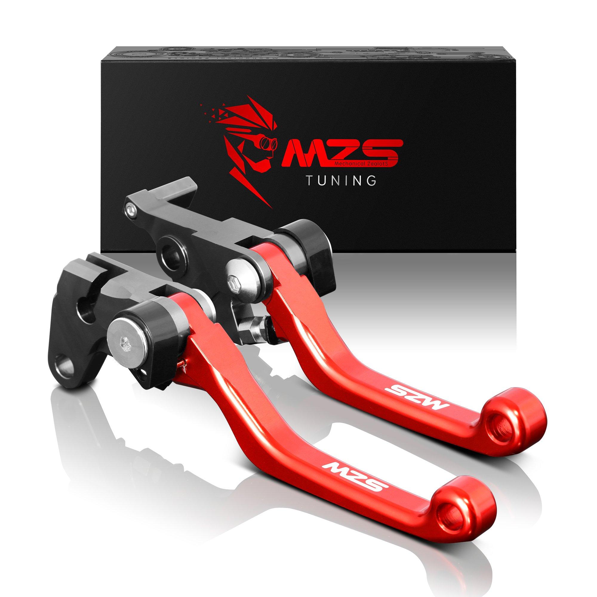 MZS Pivot Levers Brake Clutch Foldable CNC Red compatible Honda CR80R 98-07/ CR85R 98-07/ CR125R 92-03/ CR250R 92-03/ CRF125F 14-18/ CRF150R 07-18/ CRF450R 02-03/ CR500R 92-01/ XR650R 00-06 by MZS