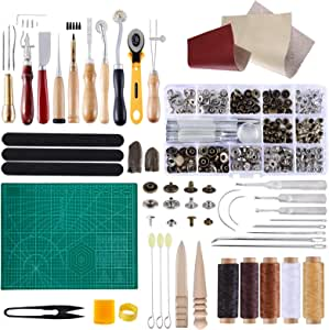 BUTUZE Complete Leather Craft Tool Sets 42 PCS DIY Craft Supplies for Beginner-Hand Sewing Tools for Stitching/Cutting/Punching Canvas/Leather Craft DIY