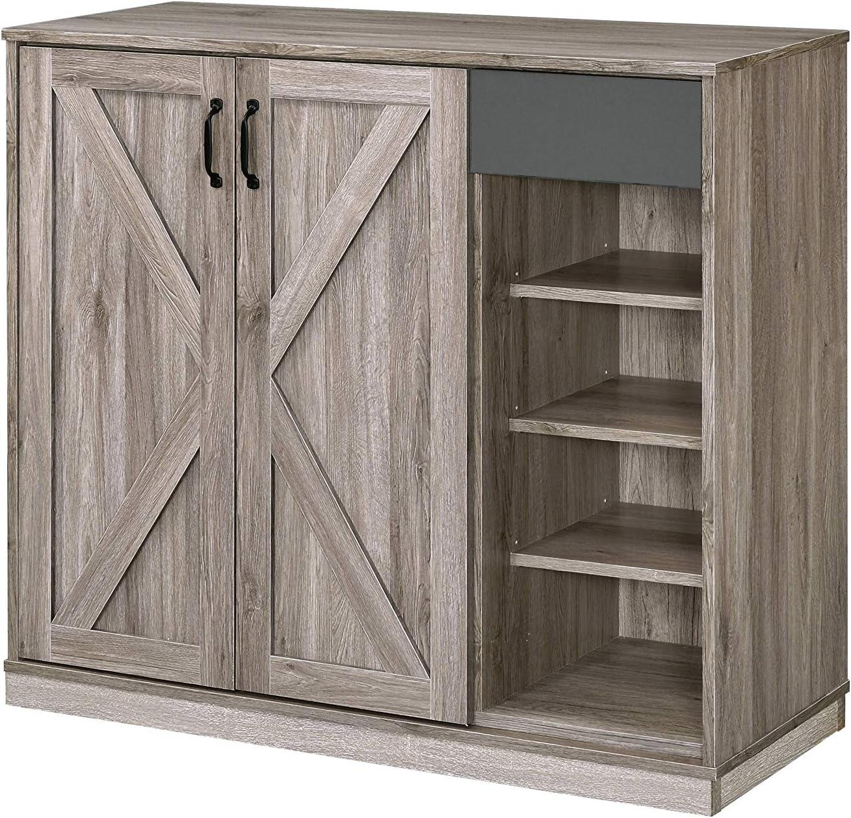 Acme Furniture Toski Cabinet, Rustic Gray Oak