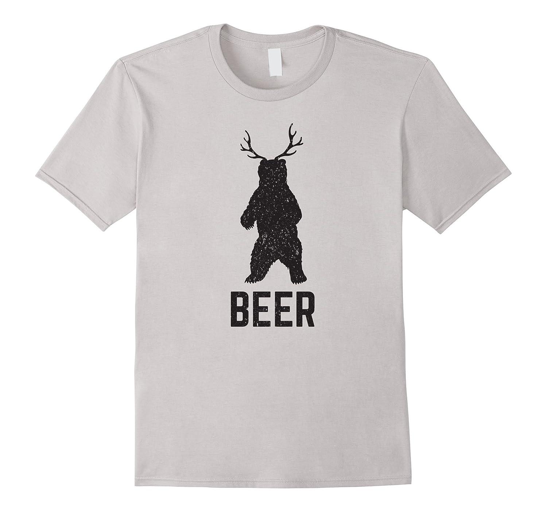 Deer antlers bear beer t shirt funny craft beer shirt cd for Funny craft beer shirts