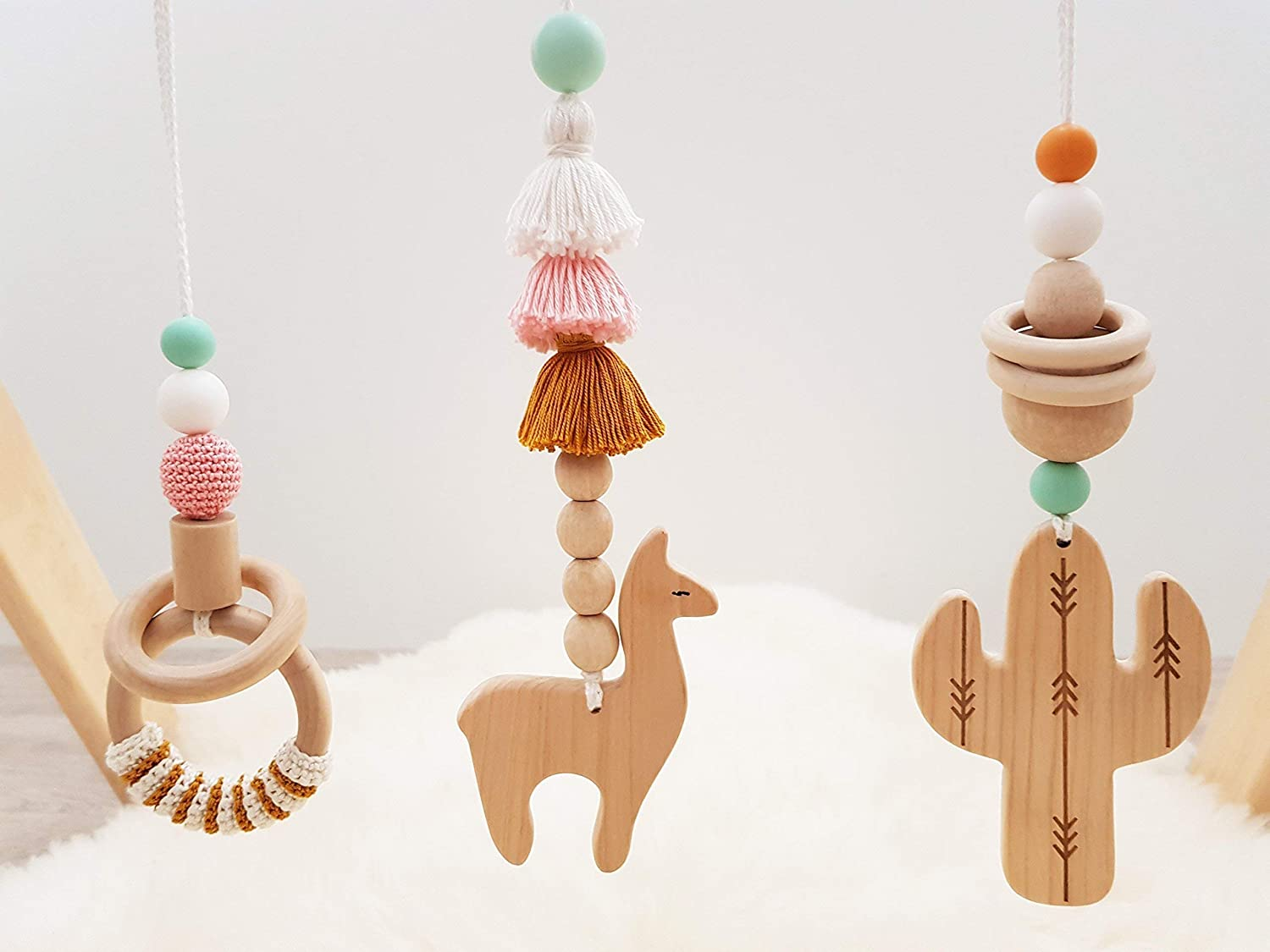 Wooden baby gym mobiles. Set of 3: cactus, llama, ring. Desert. Boho. Travel. Play Gym Accessory. Activity center. Baby Shower Gift