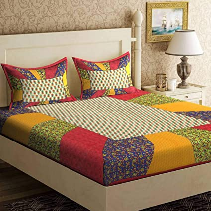 Monik Handicrafts 100 Cotton Rajasthani Jaipuri Sanganeri Traditional King Size Double Bed Sheet With 2 Pillow Covers Red Amazon In Home Kitchen