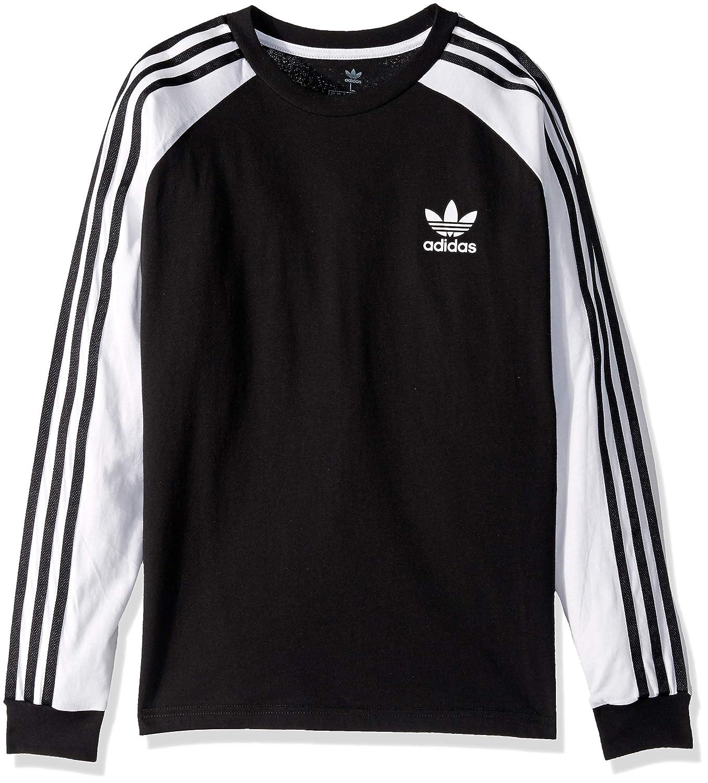 adidas Originals 3 Stripes Long Sleeve Tee | Red | Short