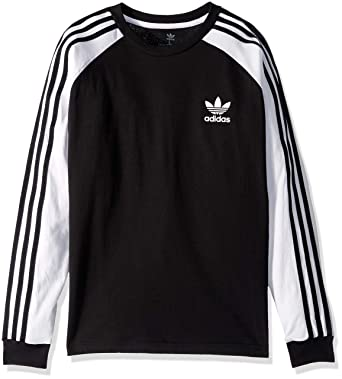 e71ee7d82 Amazon.com: adidas Originals Boys' Big 3-Stripes Long Sleeve Tee ...