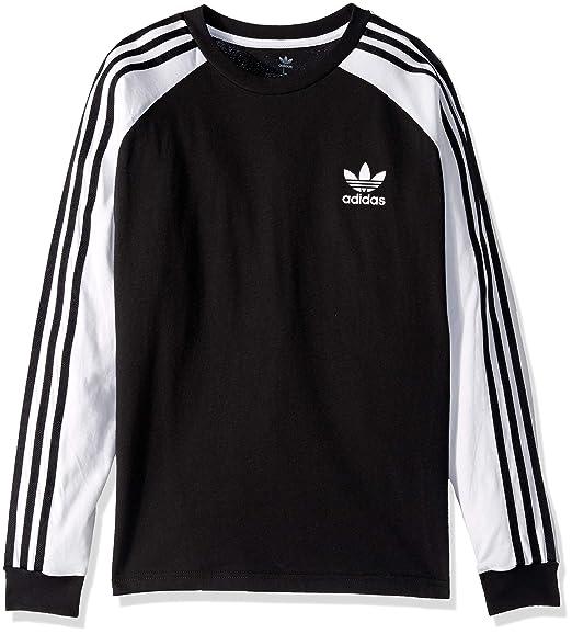 adidas Originals Boys' Big 3 Stripes Long Sleeve Tee
