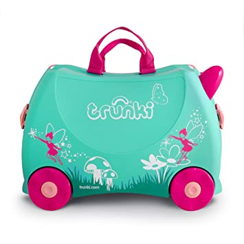 TRUNKI Ride On Valise a Roulettes Enfant Fée Flora - 46x30x21 cm - Vert et Rose: Trunki: Amazon.es: Equipaje