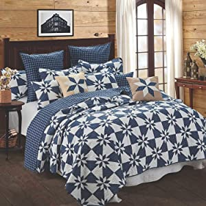 Quilt Bedding Set in Full/Queen by Virah Bella - Hunters Star Navy Printed Lightweight Reversible Quilt with 2 Matching Pillow Shams - Cozy & Beautiful Lodge-Themed Bedding