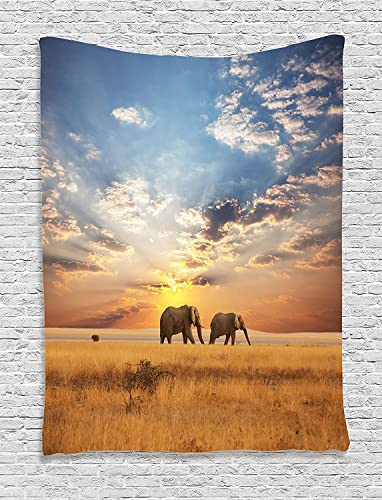 Ambesonne Safari Tapestry, Elephants Distinct Species Sun Rays Untouched Land Fall Scene Picture, Wall Hanging for Bedroom Living Room Dorm Decor, 40 X 60 , Brown Blue