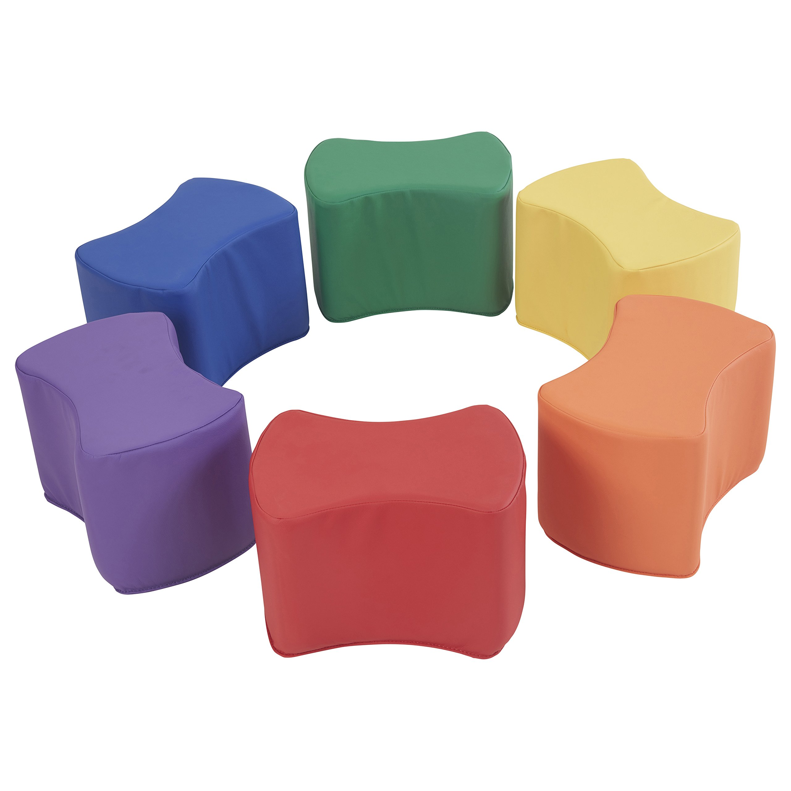 ECR4Kids SoftZone Butterfly Stool Modular Seating Set for Kids, Primary (6-Piece)
