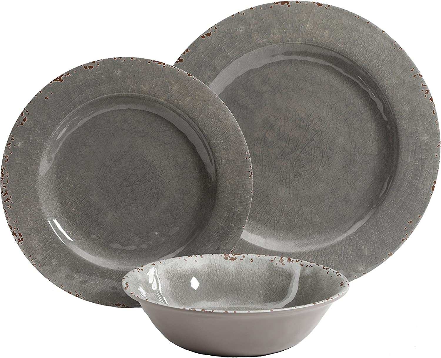 Gibson Studio Mauna 12 Piece Heavy Weight Melamine Dinnerware Set Grey Rustic Amazon Ca Home Kitchen