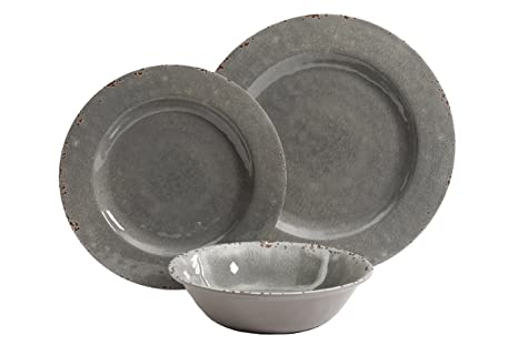 Gibson Studio 12 Piece Mauna Melamine Dinnerware Set Grey Rustic  sc 1 st  Amazon.com : studio tableware - pezcame.com