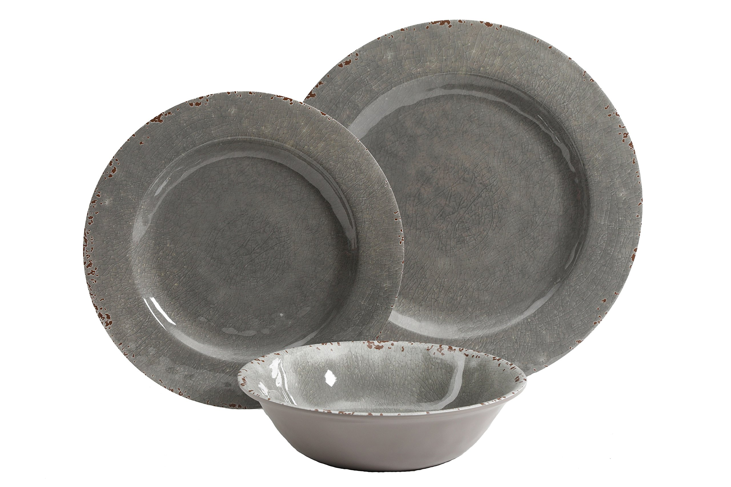 Gibson Studio 12 Piece Mauna Melamine Dinnerware Set, Grey Rustic