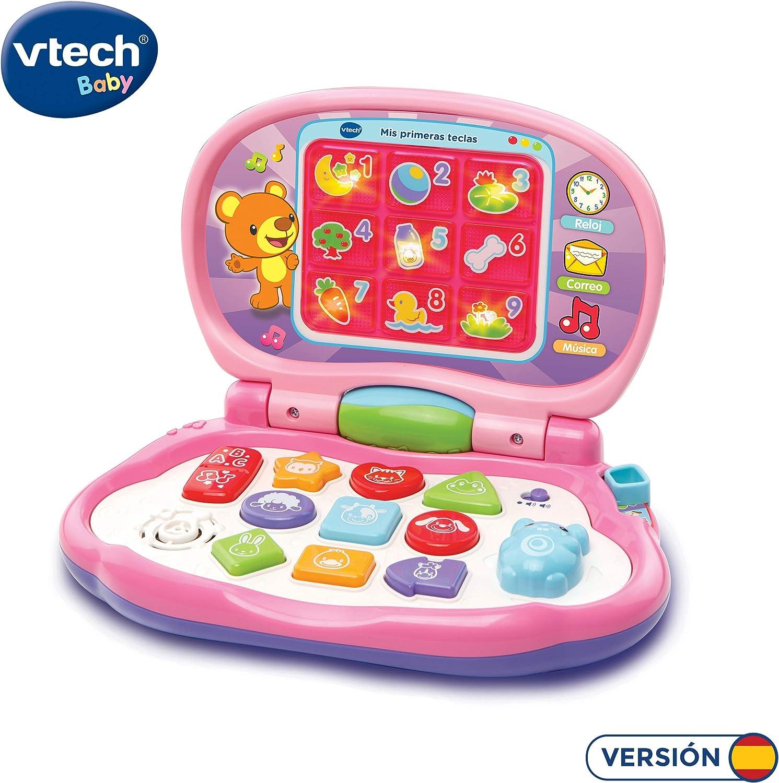 VTech-Mis primeras Teclas Ordenador Infantil con Tres Modos de Juegos Que enseña Animales, Colores, Formas y Notas Musicales, Rosa (3480-191257)