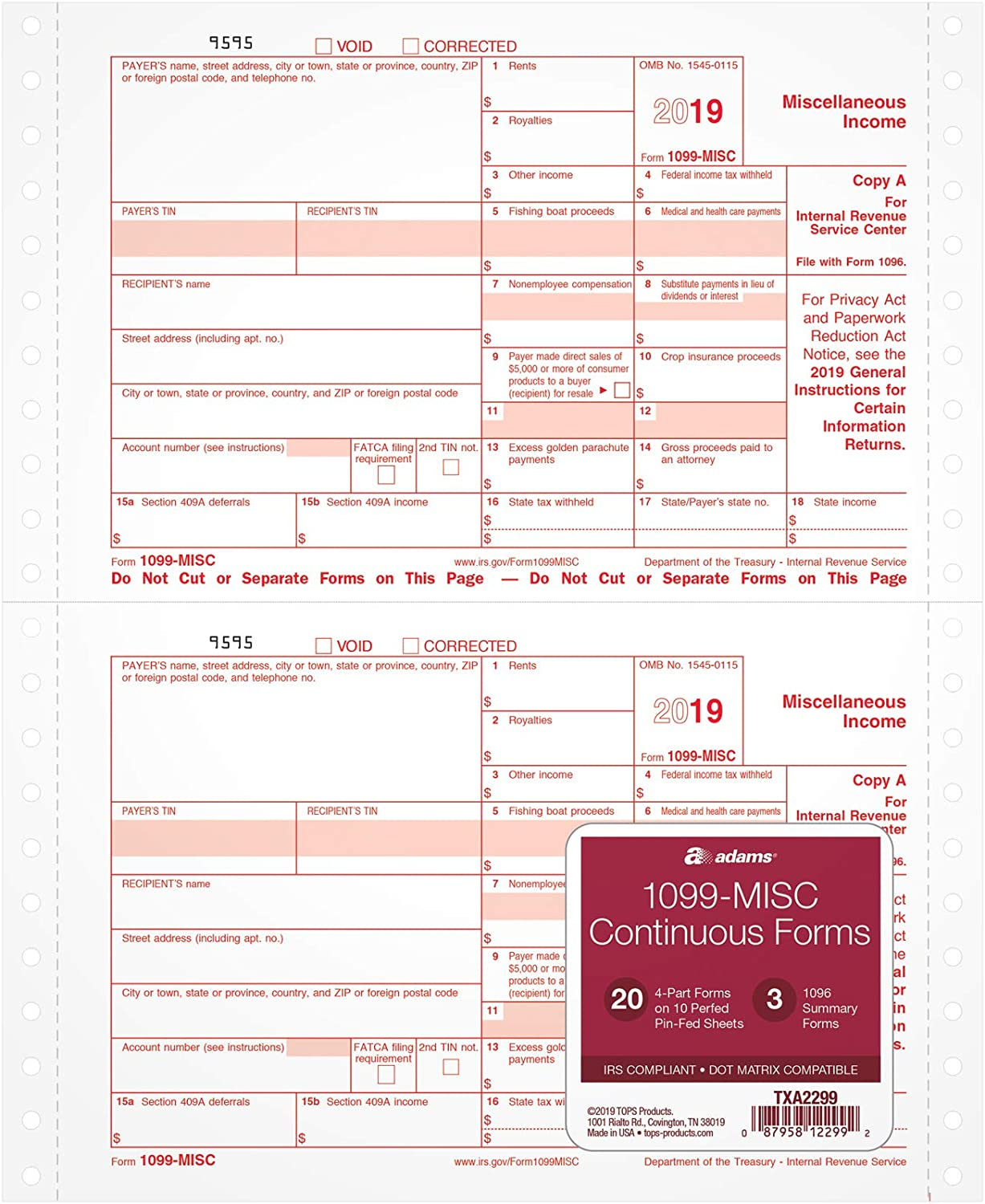 Adams 1099-MISC Continuous Forms for 2019, 20 Carbonless 4-Part Forms, Dot Matrix Compatible, 3 1096 Summary Transmittals (TXA2299), White
