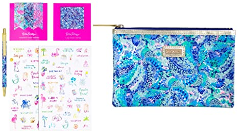 Lilly Pulitzer Agenda Bonus Pack Pencil Case Includes Planner Stickers, Magnets, Sticky Notes, and a Black Ink Pen, Wave After Wave