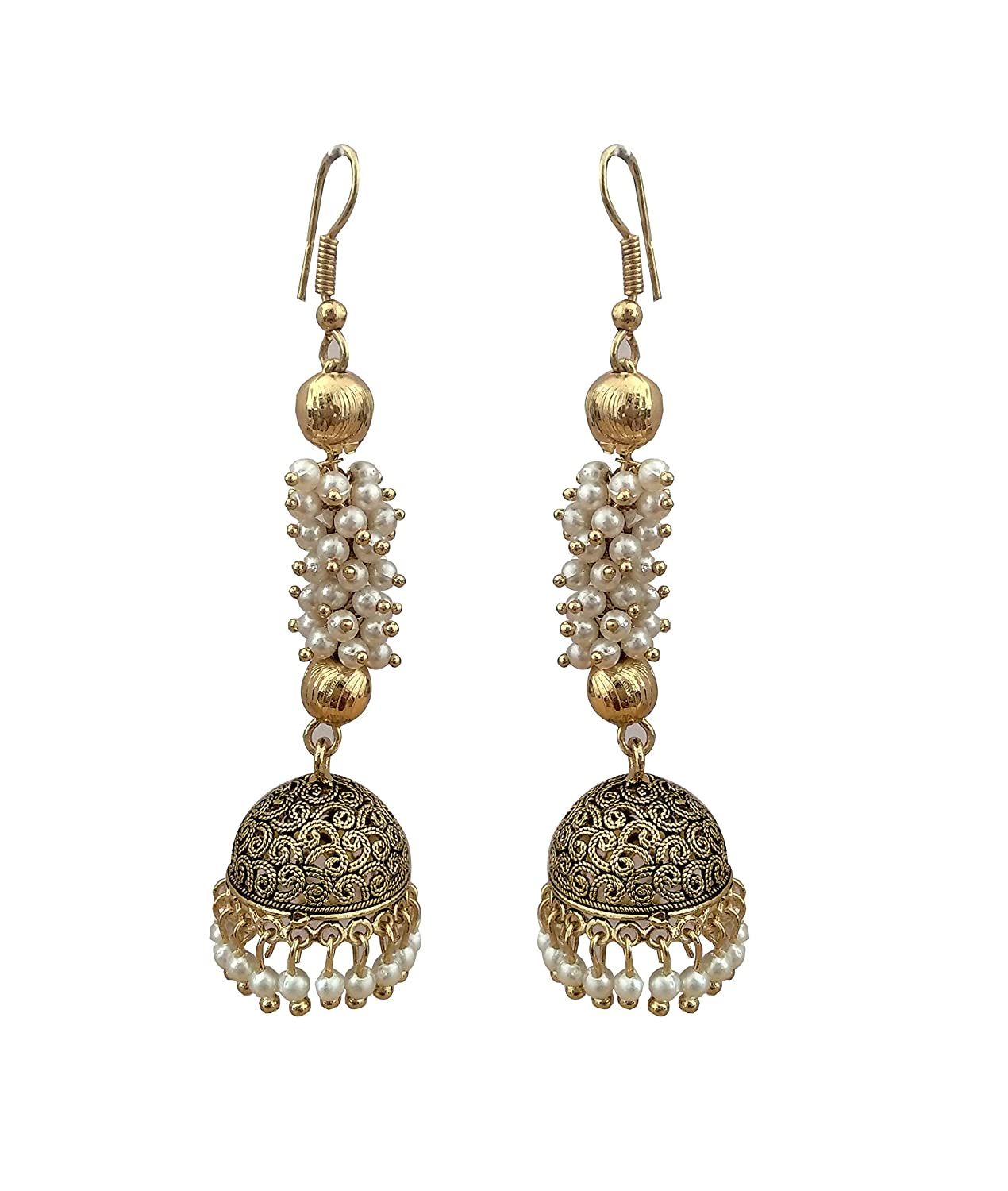 The Trendy Trendz Indian Oxidized Gold Finished Pearl Indian Wedding Long Jhumka//Jhumki Jewelry Earrings for Women and Girls