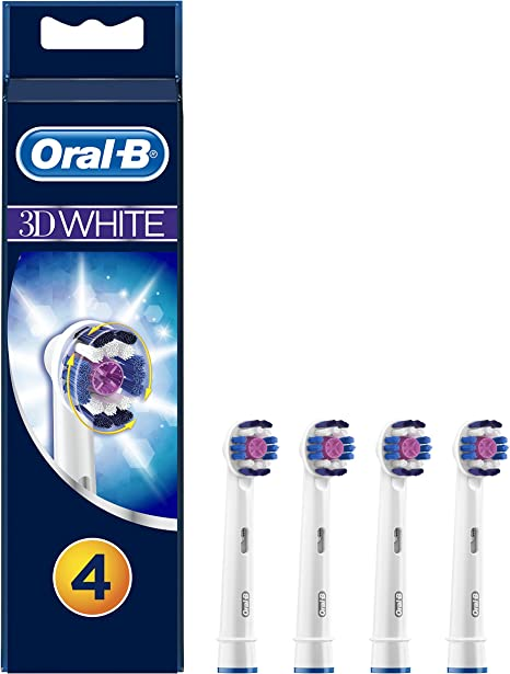 Oral B Genuine 3D White Replacement Toothbrush Heads, Refills for Electric Toothbrush, Polishes to Remove Stains for Whiter Teeth, Pack of 4