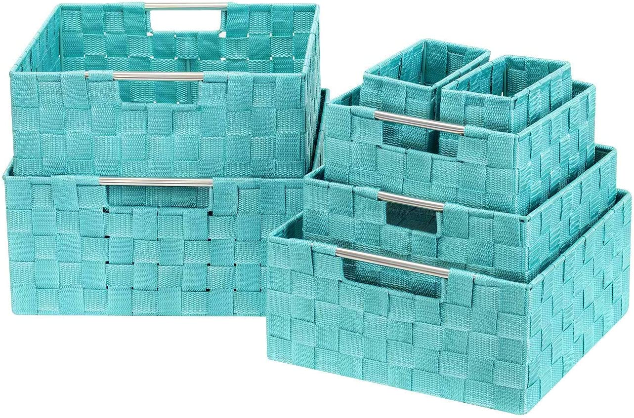 Sorbus Storage Box Woven Basket Bin Container Tote Cube Organizer Set Stackable Storage Basket Woven Strap Shelf Organizer Built-in Carry Handles (7 Piece - Aqua)