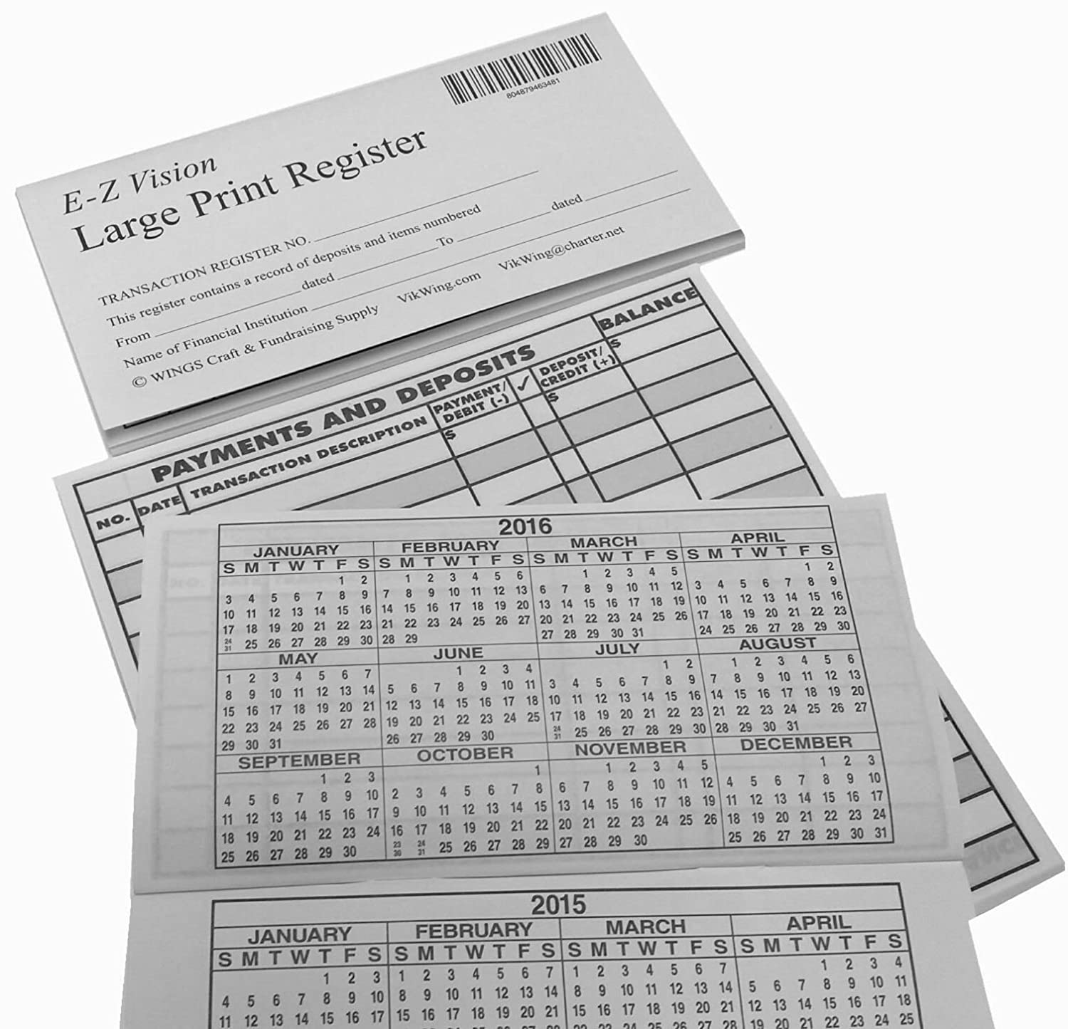 Amazon.com : Large Print Checkbook Register Low Vision 2016 17 18 Calendar    Set Of 10 : Check Registers : Office Products