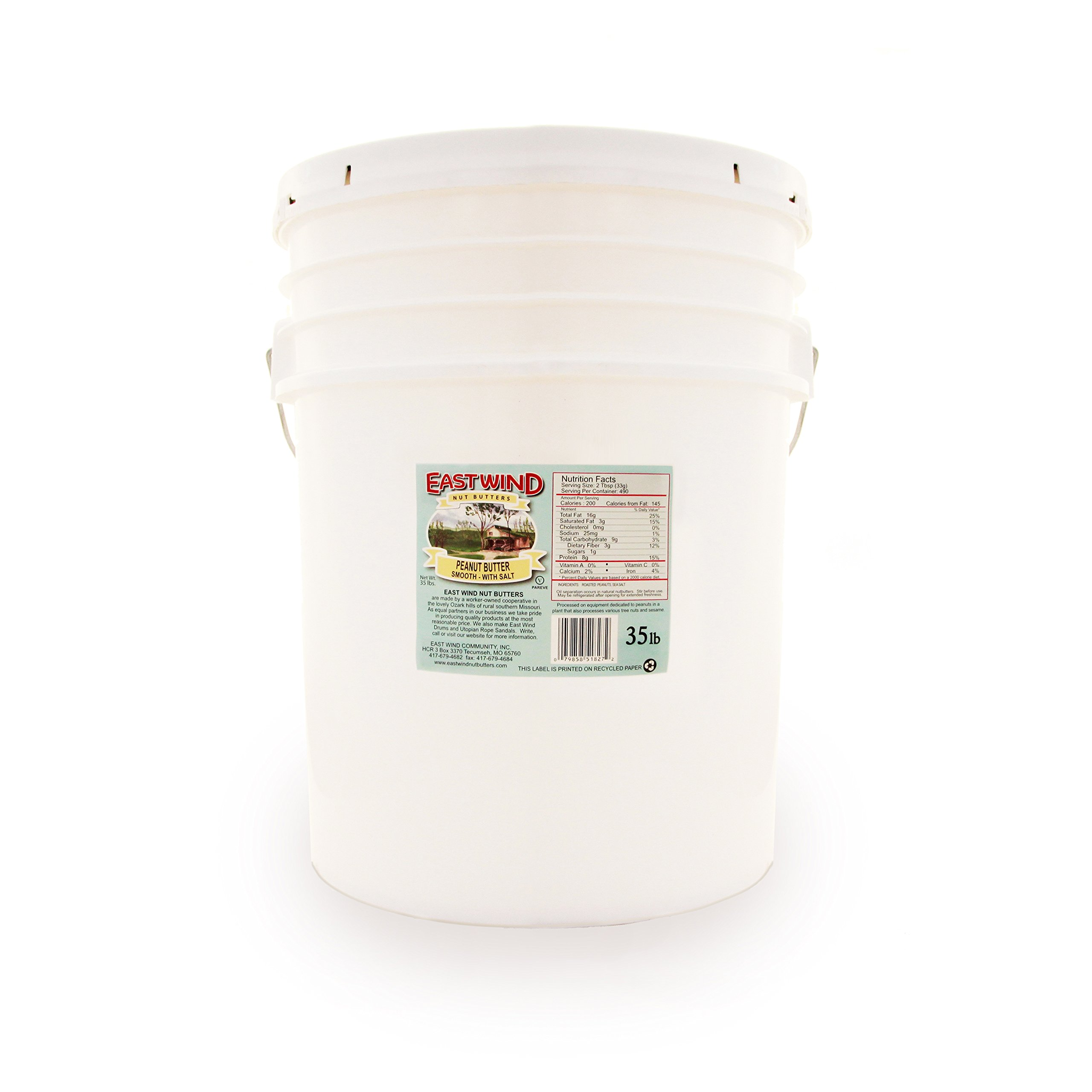 East Wind Smooth Natural Peanut Butter w/ Sea Salt 35lb. Tub