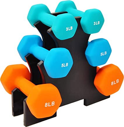 BalanceFrom Colored Neoprene Coated Dumbbell Set with Stand