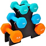Sporzon! Neoprene Coated Dumbbell Set with Stand (3lbs, 5lbs, 8lbs Set), Multicolor