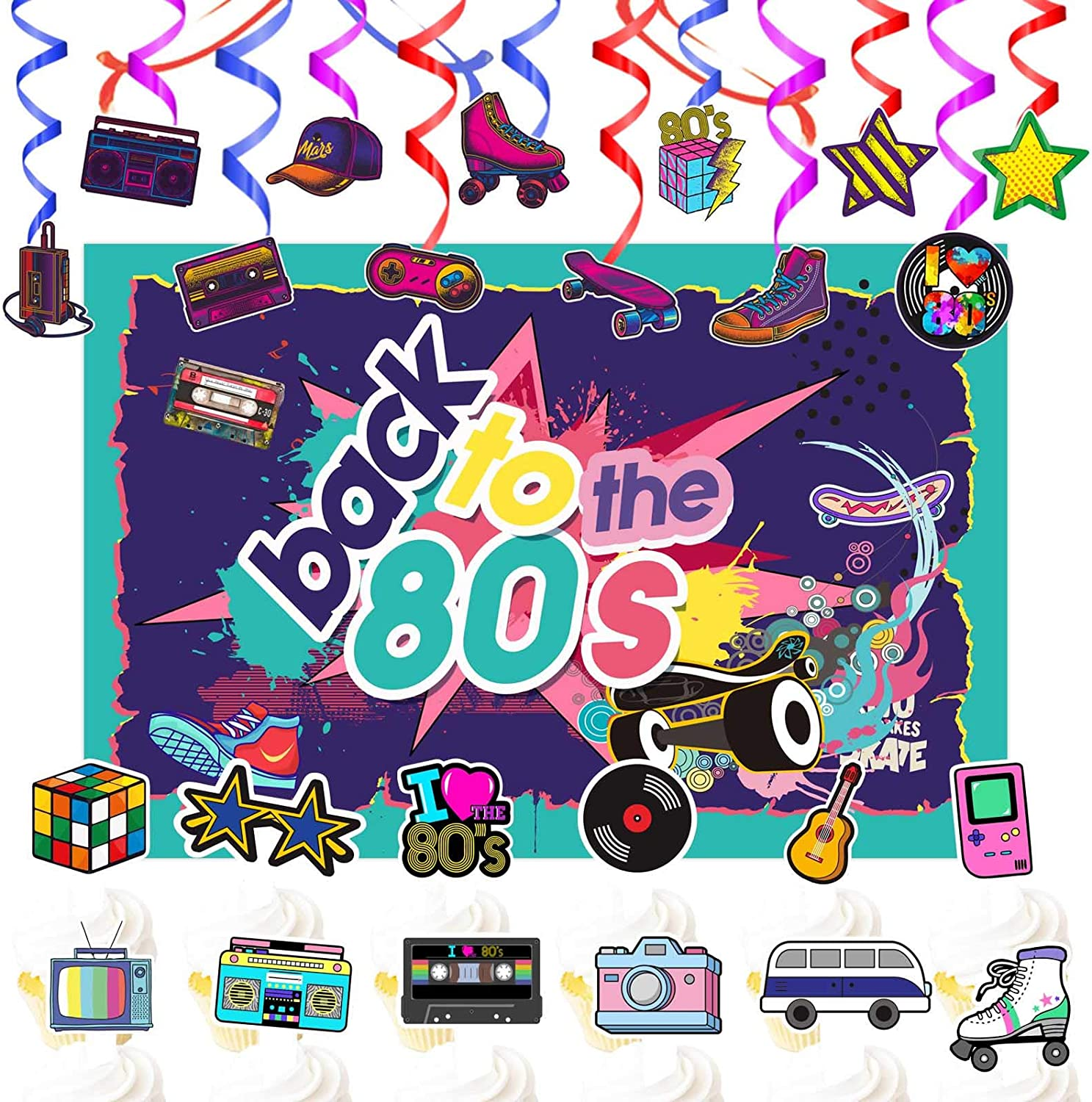 wongmode Back to The 80/'s Party Decorations Set Totally 1980s Theme Swirls Streamers Garland Backdrop and Cupcake Topper Party Supplies