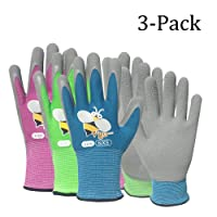 best gardening gloves. Foam Rubber Coated Gardening And Work Gloves For Kids(3 Pairs Best R