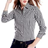 C.Cozami Women's Casual Checkered Red/Black/Maroon/Blue/White Shirt