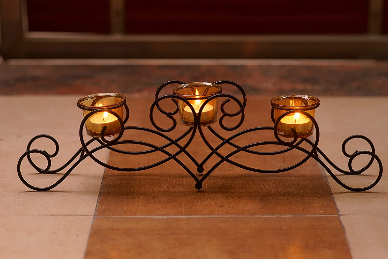 MyArtsyHouse Tealight Holder Tealight Candle Stand for Home Decor Centerpiece Tabletop Showpiece Decoration Metal Scroll Design (Black 3)