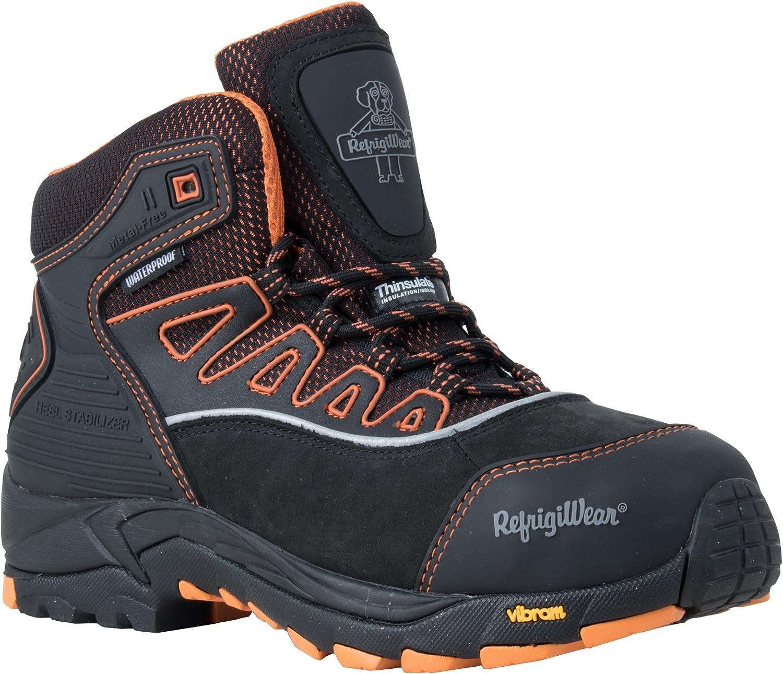 RefrigiWear Men's PolarForce Hiker Insulated Waterproof Black Leather Work Boots
