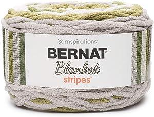 Bernat Blanket Stripes Yarn, 10.5 oz, Gauge 6 Super Bulky Chunky, Olive Branch