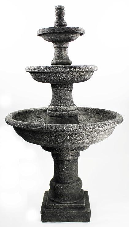 Fleur De Lis Garden Ornaments LLC Three Tier Renaissance Fountain Cement  Water Feature Concrete Garden Fountain