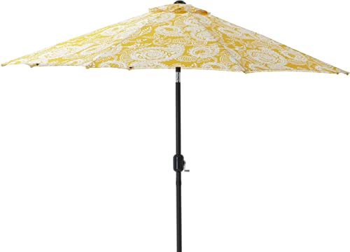 Pillow Perfect Addie Egg Yolk 9-foot Patio Market Umbrella, Yellow